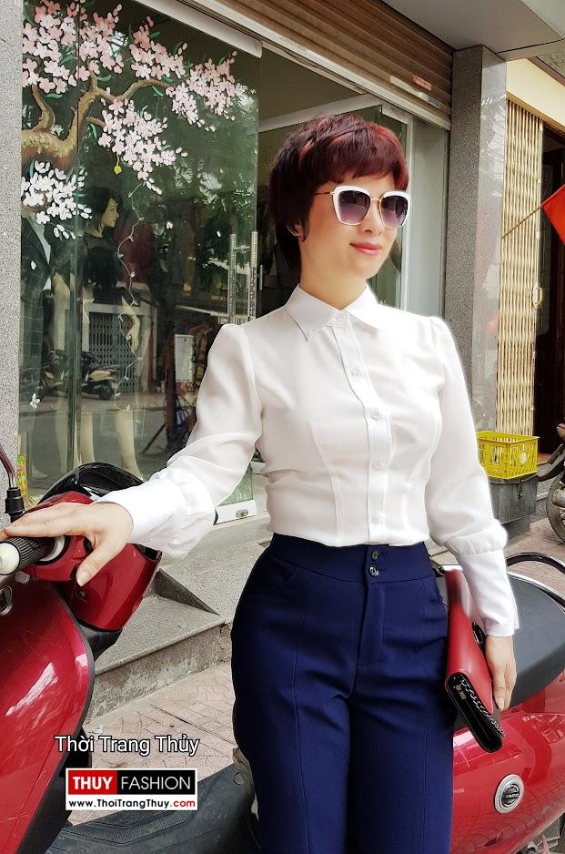 Áo sơ mi nữ và quần ống vẩy xẻ tà mặc tới công sở thời trang thủy ở đà nẵng