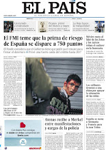 Photo: El FMI teme que la prima de riesgo de España se dispare a 750 puntos y Atenas recibe a Merkel entre manifestaciones y cargas de la policía, en la portada de la edición nacional de EL PAÍS del miércoles 10 de octubre de 2012 http://cort.as/2bPP