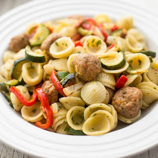 Pasta with Turkey Meatballs and Roasted Vegetables.