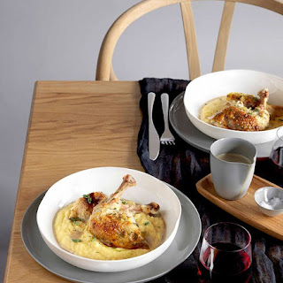Roast Chicken With Polenta And Wild Mushroom Sauce.