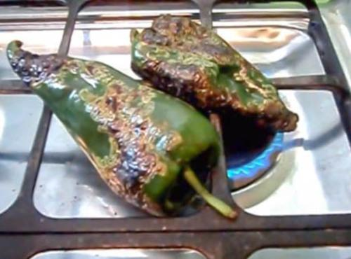 Rinse and dry chiles. Roast on stove burners. Roast until skin is charred. Place...