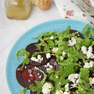 Roasted Beetroot, Rocket And Feta Salad With Mustard Lemon Dressing