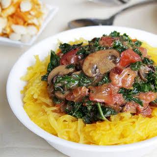 Spaghetti Squash with Tomato Mushroom and Rosemary Cream Sauce.