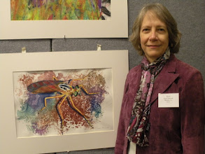 Photo: Joyce and her robber fly painting -- that's one scary bug!