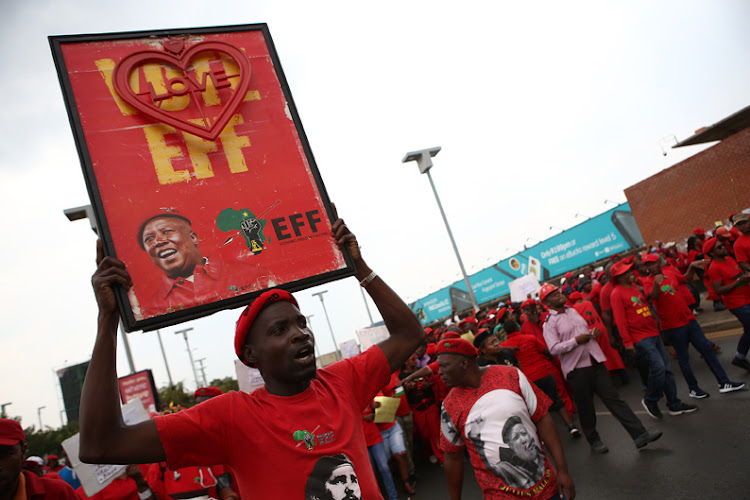 Economic Freedom Fighters march to Chris Hani Baragwanath Hospital in Soweto to demand quality public healthcare.