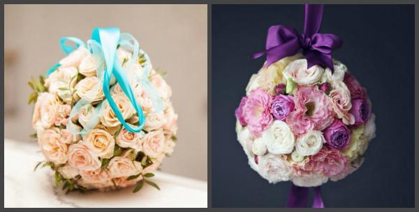 Букет – помандер (шарообразный) на ленте для невесты на свадьбу, созданный своими руками