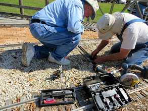 Photo: Bill Howe and Ken Smith make the final adjustments on spring tension for the points.     HALS Public Run Day 2014-0419 RPW  10:32 AM