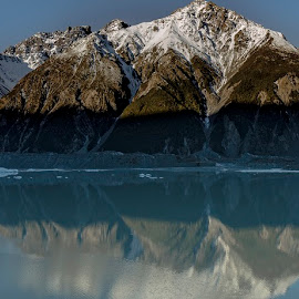 Tasman Valley Pano by Perla Tortosa - Landscapes Mountains & Hills ( mountians, blue sky, panorama, reflection, blue, nature, snow, clear sky, ice, lake,  )