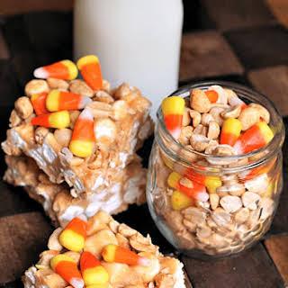 Candy Corn Peanut Mallow Bars.