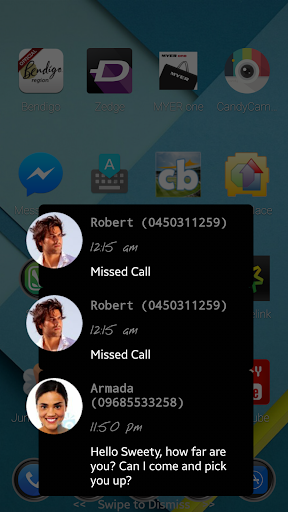 Missed call SMS notification