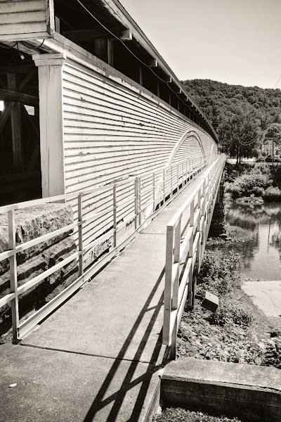 """Photo: Covered Bridge -Philippi, West Virginia I never posted this shot for some reason, but after a couple of """"favs"""" and comments over on Flickr ( http://www.flickr.com/photos/justsaytheword/ ) convinced me to share it here on G+ as well :)  A day late for #bridgesovertuesday +BridgesOverTuesdayby +Steve Boyko& +Clare Bambers(newer theme - please follow and check out if you haven't)"""