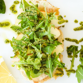 Roasted Turkey, Apple and Cheddar Open-Faced Sandwich with Basil Walnut Pesto