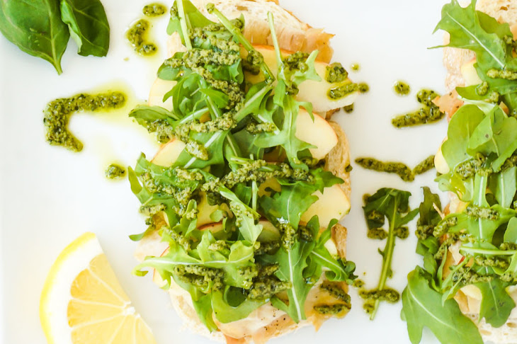 Roasted Turkey, Apple and Cheddar Open-Faced Sandwich with Basil ...