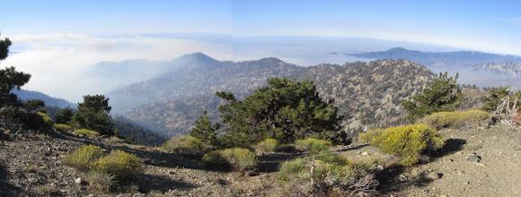 Photo: Impressive panorama south from Mount Hawkins toward Hawkins Ridge: South Mt. Hawkins (left), Sadie Hawkins, and Middle Hawkins (right) with Monrovia Peak poking up in the distance