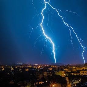 Light my town by Zec Mladen - City,  Street & Park  Night ( sky, nature, lighting, night, city )