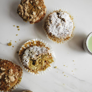 Matcha, White Chocolate and Pear Muffins with Almond Streusel Recipe