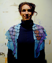 Photo: My Model wearing Ceramic Shawl for Wearable Artshow in Phoenix - Donation piece for Artlink Organization - hi fire ceramic clay, wire, and felt - cold patina finish