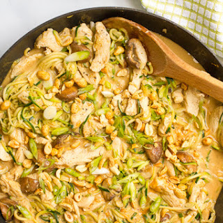 Easy Chicken Satay With Zoodles And Mushrooms