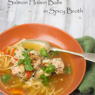 Hoisin Salmon Meatballs in Asian Broth.