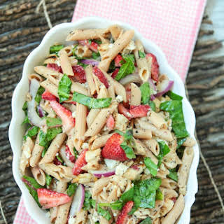 Strawberry Poppy Seed Pasta Salad with Chicken.