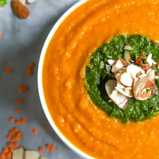 Moroccan Lentil and Sweet Potato Soup with Fresh Herb Compote (Dairy Free, Gluten Free).