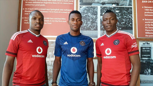 (L-R) New Orlando Pirates arrivals Gift Motupa, Filipe Ovono and Tendai Ndoro.