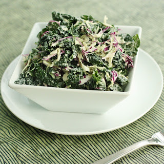 Dinosaur Kale and Cabbage Slaw with Creamy Cashew Hemp Dressing
