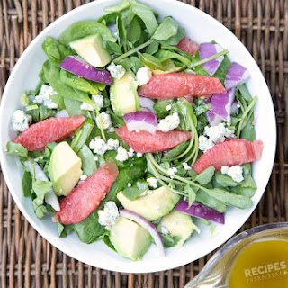 Avocado & Blue Cheese Watercress Salad with Homemade Grapefruit Vinaigrette Dressing