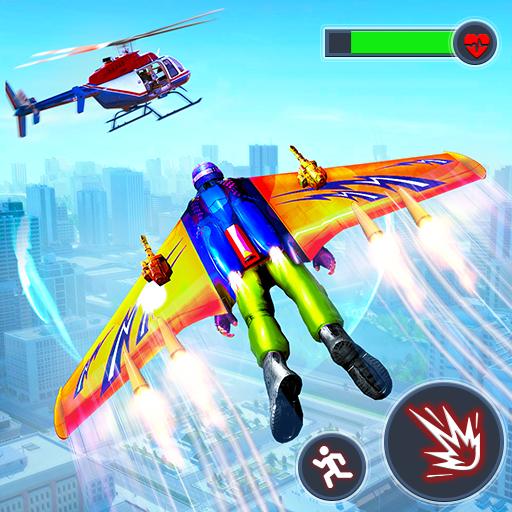 Voando Jetpack Hero Crime 3D Fighter Simulator