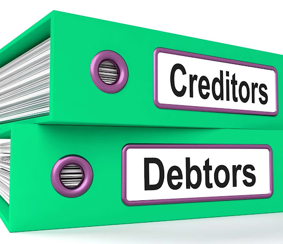 Creditors and Debtors on folders in working capital cycle