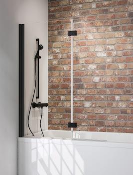 Pare-baignoire Black Style, 140 cm, 2 volets, style industriel, profilé noir