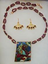 Photo: <BEREHYNYA> {Great Goddess Protectress} unique one-of-a-kind statement jewellery by Luba Bilash ART & ADORNMENT  RED GRIFFIN - ЧЕРВОНИЙ ГРИФОН - copper enamel pendant, garnets, rose gold vermeil $160/set SOLD/ПРОДАНИЙ