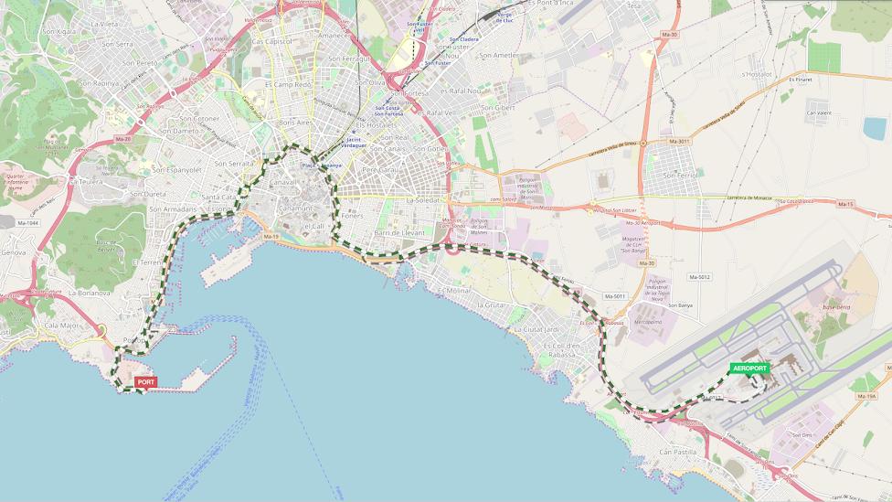 jak dojechać z lotniska do centrum Palma de Mallorca, Majorka, Palma de Mallorka, trasa autobusu nr 1