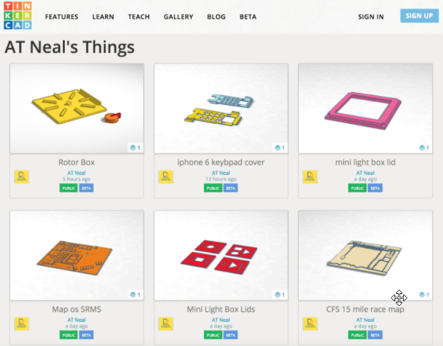 Neal's 3D designs available on TinkerCAD for download