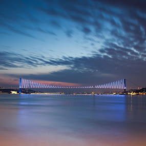The Bosphorus Bridge by AhMet özKan - Buildings & Architecture Bridges & Suspended Structures ( bosphorus, continents, night, istanbul, bridge, city )