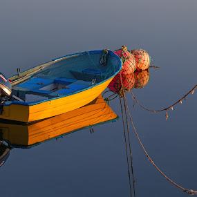 Silence by Morten Pettersen - Transportation Boats ( båt, blue, colors, silence, yellow, norge, northcape, boat, finnmark, gjesvær, norway )