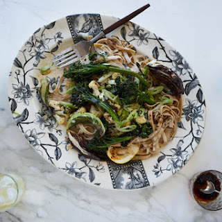 Spicy Tahini Noodles with Roasted Vegetables.