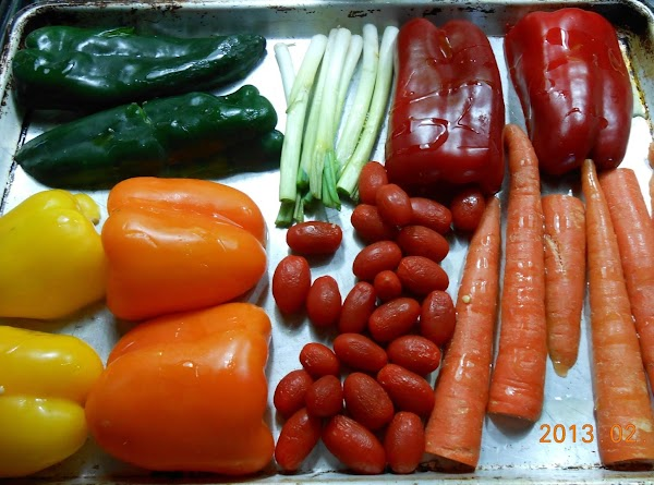 Cut all peppers in half and remove seeds.  Cut carrots in half (I...