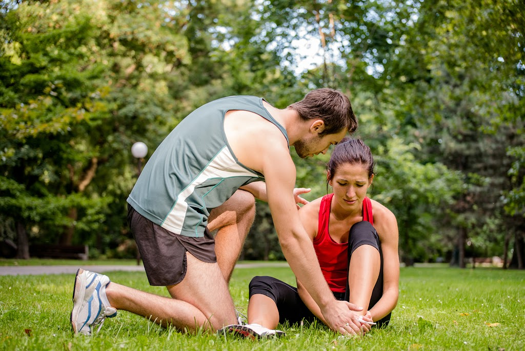 Female runner with foot injury