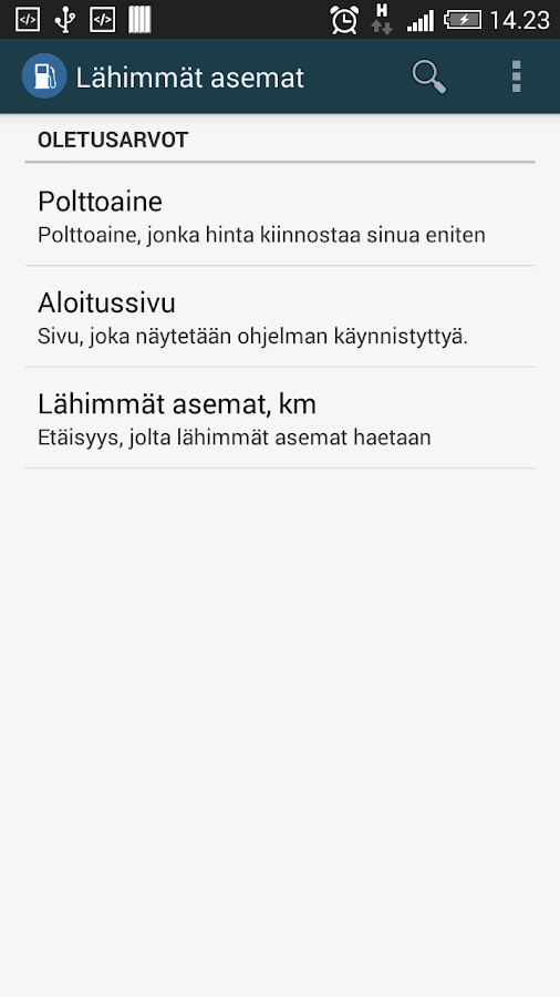 Polttoaine- screenshot