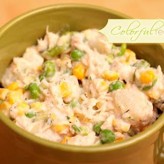 Tuna Potato Salad with Corn and Peas.