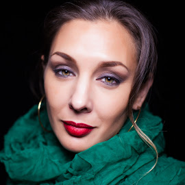 Green Scarf by Brian Brown - People Fashion ( fashion, color, woman, green, scarf, hair, portrait, eyes,  )