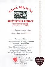 Photo: Specjalny Dyplom WOŚP dla Stowarzyszenia POLONEZ.