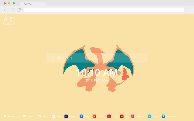 Charizard pop animation HD new tab page theme