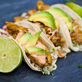 "Vegan Baja ""Fish"" Tacos with Chipotle Cream and Cilantro Lime Slaw."
