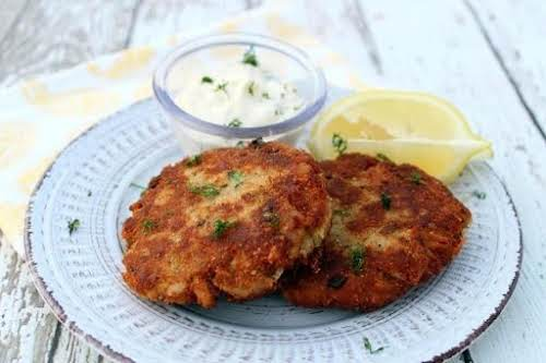 "Click Here for Recipe: Tuna Patties with Lemon-Dill Sauce ""These tuna patties..."