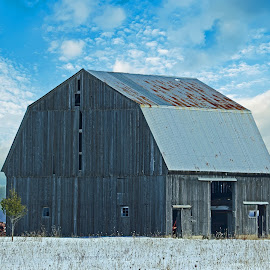 Tranquil Farm Scene by Bill Diller - Buildings & Architecture Public & Historical ( calm, michigan, barn, tractor, farming, farm, calmness, tranquil, tranquility, farm scene, peaceful, farm implement )
