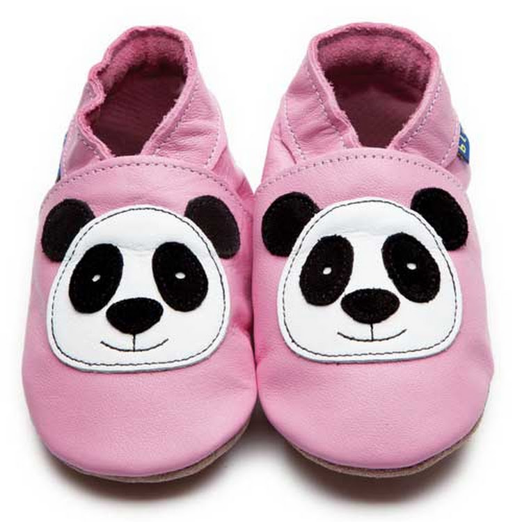 Inch Blue Soft Sole Leather Shoes - Panda Pink (6-12 months)