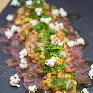 Raw Tuna, Quick Pickled Local Peach & Corn, Yuzu, Soy, Chili, Virgin Oil & Micro Celery.