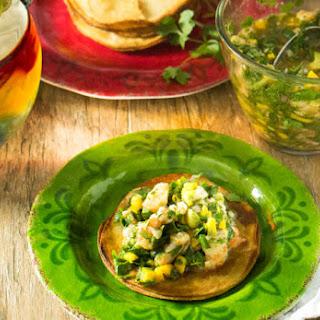 Mango, Avocado, and Gulf Shrimp Ceviche Tostadas.
